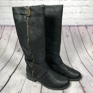 Guess, black faux leather riding boots